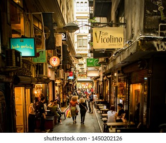 Melbourne, Victoria, Australia, September 17th 2016: People are walking and dining at Centre Place laneway in the city centre of Melbourne.