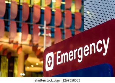 """Melbourne, Victoria, Australia, September 30th, 2018: The """"Emergency"""" sign at the front entrance of the Royal Childrens Hospital in Parkville, Melbourne, Australia."""