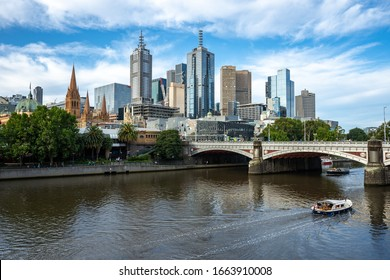 Melbourne, Victoria, Australia, Sunday 26 January 2020 : Cityscape of Melbourne city with princess bridge. Skyscrapers and business building with blue sky at Southbank area