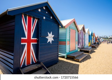 Melbourne, Victoria, Australia, Wednesday 29 January 2020 : Colorful bathing boxes at Brighton beach with blue sky