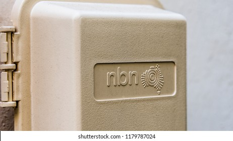 Melbourne, Victoria,  Australia,September 12, 2018: A Plastic NBN cover with the NBN label and logo of the Australian National Broadband Network.