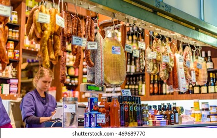 MELBOURNE, VICTORIA/AUSTRALIA AUGUST 14: An unidentified woman working at a Queen Victoria Market stall on August 14, 2016.
