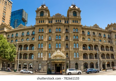 MELBOURNE, VICTORIA/AUSTRALIA DECEMBER 24: The Hotel Windsor on Spring Street is a five star hotel and often hosts politicians and visiting dignities. December 24, 2017.