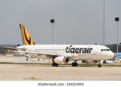 MELBOURNE, VICTORIA/AUSTRALIA, January 14TH: Image of a Tigerair passenger airliner at Melbourne Airport on 14th January, 2014 in Melbourne