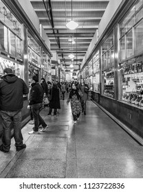 MELBOURNE, VICTORIA/AUSTRALIA JUNE 28: unidentified shoppers are browsing the stalls at the Queen Victoria Market on JUNE 28, 2018.
