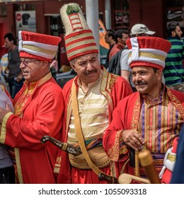 MELBOURNE, VICTORIA/AUSTRALIA MARCH 11: Unidentified turkish parade members dressed in traditional Turkish costume during the Turkish street festival at Queen Victoria Market on March 11, 2018