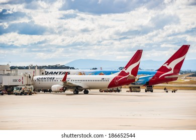 MELBOURNE, VICTORIA/AUSTRALIA, MARCH 17TH: Image of Qantas passenger airliners at Melbourne Airport on 17th March, 2014 in Melbourne