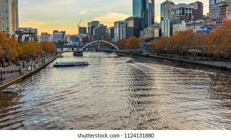 MELBOURNE, VICTORIA/AUSTRALIA MAY 26: Southbank and the Yarra river in the centre of Melbourne  just before sunset on May 26, 2018.
