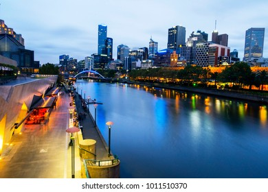Melbourne and Yarra river at night - landmark cityscape