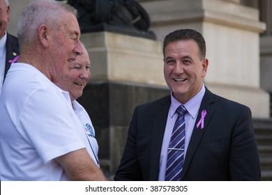 MELBOURNE/AUSTRALIA - MARCH 8, 2016: Hon. John Eren, Minister for Veterans,  pays his respect to our Vietnam veterans as VetRide begins next week .