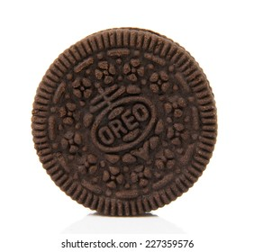 Melbourne,Australia-August 15,2014: Oreo cookies over white.Oreo is a sandwich cookie consisting of two chocolate wafers with cream filling.