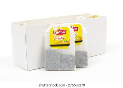 Melbourne,Australia-May 10,2015: Lipton tea bags on white. Lipton is a world famous brand of tea