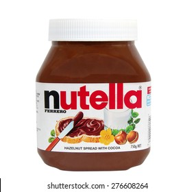 Melbourne,Australia-May 10,2015: Nutella chocolate spread on white.  Nutella is the brand name of a hazelnut flavoured  spread.