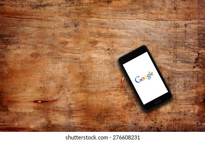 Melbourne,Australia-May 7,2015: Photo of open Google page on smartphone on the table.