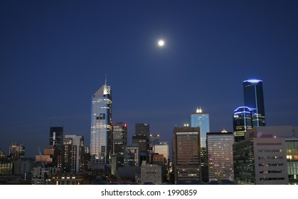 Melbourne's CBD at night. View from Doclands side. Photo taken from 16th floor. Photo taken at Melbourne (Australia)