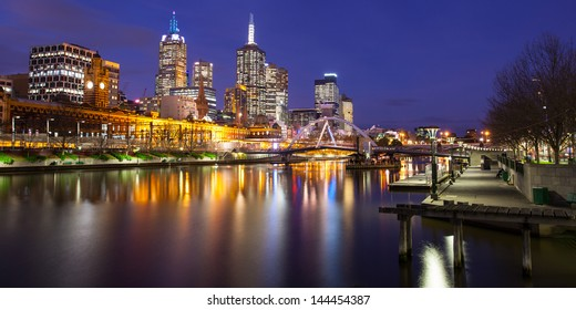 Melbourne's famous skyline from Southbank towards Flinders St Station in Melbourne, Victoria, Australia