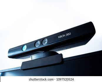 Melbourne,VIC/Australia-May 24th 2018:  Xbox 360's motion sensor Kinect mounted on TV.
