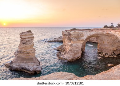 Meledugno town in Italy, Puglia Region. Spectacular view at sunrise on Santo Andrea cliffs