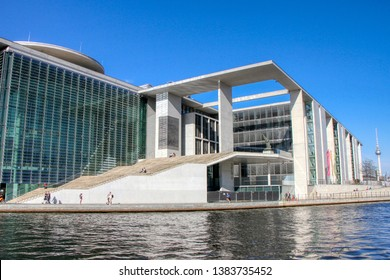 Marie-Elisabeth-Lüders-Haus (MELH), an office building, in the government district a short distance from the Reichstag in Berlin, Germany - 20/04/2019