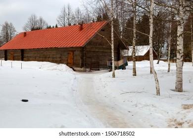 Melikhovo, Moscow Region, Russia - April 3 2019: Barnyard. State Literary-Memorial Museum-Reserve of Anton Chekhov Melikhovo
