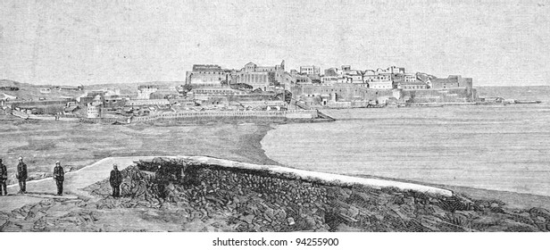 "Melilla, the place of the Spanish-American War. Engraving by Shlinner. Published in magazine ""Niva"", publishing house A.F. Marx, St. Petersburg, Russia, 1893"