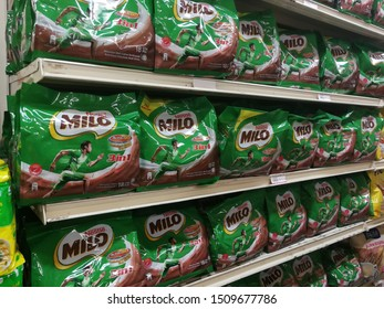 Melimewa superstore kudat sabah, Malaysia - 20 September 2019: The MILO is stacked on a shelves at Melimewa superstores available for sale to customers.MILO is manufactured by the Milo company.