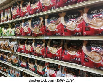 MELIMEWA SUPERSTORE kudat sabah,Malaysia-20 September 2019 :The NESCAFE is stacked on the shelves at MELIMEWA SUPERSTORES available for sale to the customers.NESCAFE is produced by the NESCAFE company