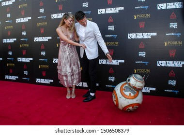 Melissa Benoist and Chris Wood arrive at the 45th Annual Saturn Awards at the Avalon Theater in Hollywood CA on Sept. 13, 2019.