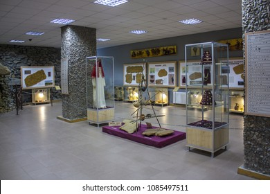 "Melitopol, Ukraine -May 01, 2018: Interior of Museum in National-historical and archaeological reserve ""Stone Grave or Rocky Mound Kamena Mohyla"" near Melitopol, Ukraine"