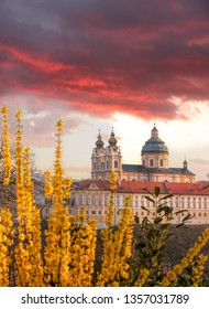 Melk abbey against sunrise during spring time in Austria, Wachau area