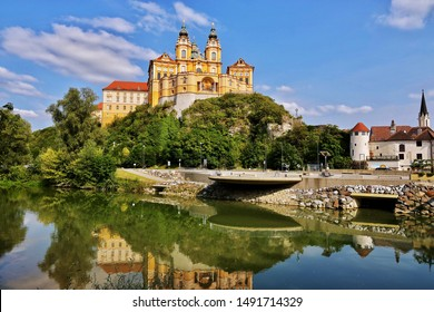 Melk Abbey is a Benedictine abbey above the town of Melk, Lower Austria, Austria, on a rocky outcrop overlooking the Danube river.