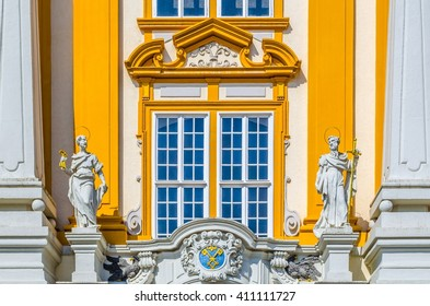 Melk Abbey Church details in Lower Austria. Melk Abbey is an Austrian Benedictine abbey, one of the world's most famous monastic sites.