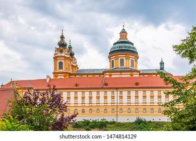 Melk Abbey, German: Stift Melk. Benedictine abbey above the town of Melk in Lower Austria, Austria.