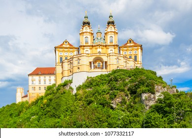 Melk Abbey Monastery or Stift Melk is a Benedictine abbey in Melk, Austria. Melk Abbey Monastery located on a rocky outcrop overlooking the Danube river and Wachau valley.