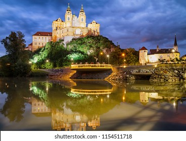 Melk Abbey is one of the biggest and most beautiful European Baroque ensembles, who situated on a rock overlooking the Danube, in the Wachau region, Austria.