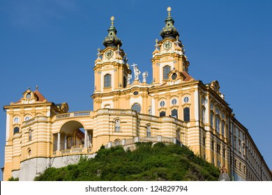 Melk Abbey Or Stift Melk Is An Austrian Benedictine Abbey And One Of The World Most Famous Monastic Sites It Is Located Above The Town Of Melk On A Rocky Outcrop Overlooking The River Danube