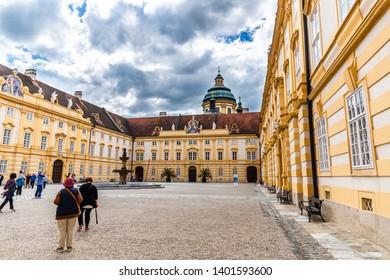 Melk, Austria; 05/17/2019: a view of Melk Abbey (Stift Melk)