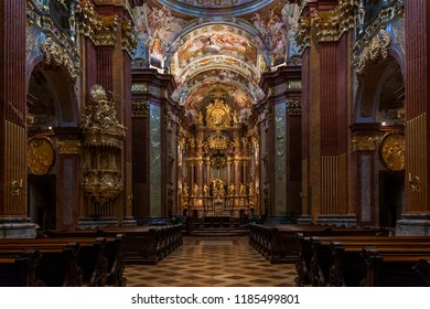 Melk. Austria. 08.05.16. The High Altar in the church inside Melk Abbey, a Baroque Benedictine Monastery on a rocky outcrop overlooking the Danube river at Melk in the Wachau Valley in Austria.