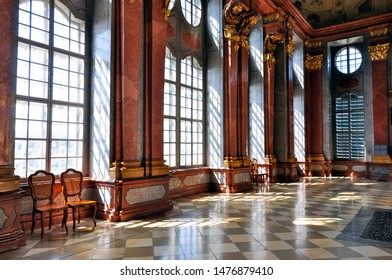 Melk, Austria - Aug 22, 2013:  The Marble Hall at Melk Abbey, a UNESCO World Heritage Site, in Austria's beautiful Wachau Valley, is a popular tourist destination and is located near Vienna.