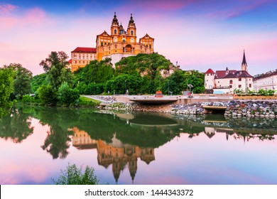 Melk, Austria. Benedictine abbey in Wachau valley at sunset.