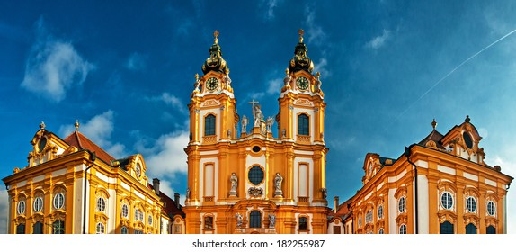 MELK, AUSTRIA - JANUARY 1: Exterior of Abbey Melk in Austria on January 1, 2014. Abbey Church is considered one of the most beautiful in Austria, built in baroque churches.