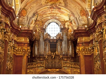 MELK, AUSTRIA - JANUARY 1: St. Peter and Paul Church in Melk Abbey on January 1, 2014 Melk, Austria. Abbey Church is considered one of the most beautiful in Austria, built in baroque churches.