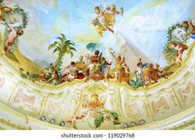 MELK, AUSTRIA - JUNE 21: The fresco in the garden pavilion of the Melk Abbey. Melk Abbey was originally a palace. Located on the bank of the Danube River; June 21, 2012 Melk, Austria.
