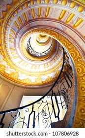 MELK, AUSTRIA - JUNE 21:  Imperial Stairs closeup in Melk Abbey. June 21, 2012 Melk, Austria.  Spiral Rococo staircase  leads from the library to the St. Peter and Paul Church in Melk Abbey.
