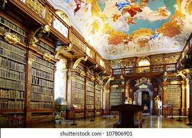 MELK, AUSTRIA - JUNE 21: The luxurious interior of the Library in Melk Abbey. June 21, 2012 Melk, Austria.  Massive Melk Abbey Library Has Over 100,000 Volumes in Collection.