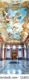 MELK, AUSTRIA - JUNE 21: Marble Hall of the Melk Abbey. The Marble Hall contains pilasters coated in red marble and an allegorical painted ceiling by Paul Troger; June 21, 2012 in Melk, Austria.