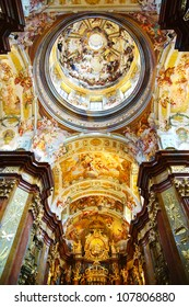 MELK, AUSTRIA - JUNE 21:  St. Peter and Paul Church in Melk Abbey. June 21, 2012 Melk, Austria.  Abbey Church is considered one of the most beautiful in Austria, built in baroque churches.
