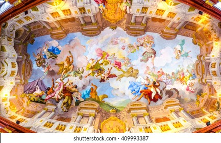 MELK, AUSTRIA, MAY 16, 2015: ceiling painting in Melk Abbey in Melk, Austria. Abbey Church is considered one of the most beautiful in Austria, built in baroque style.