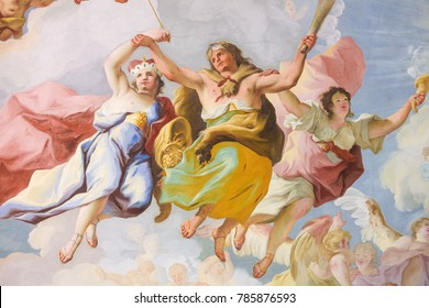 Melk, Austria - May 24, 2010: Fresco (1731) in the Church of Stift Melk in Lower Austria, with an allegorical representation of the Cardinal Virtue Fortitude
