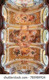 Melk, Austria - May 24, 2010: Ceiling Fresco (1722) in the Church of Stift Melk in Lower Austria, depicting the Via Triumphalis of St Benedict in Heaven